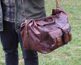 Handmade leather duffle bag / Leather travel bag / Dark brown leather carry-on / Leather duffel bag / Weekender bag / Overnight bag