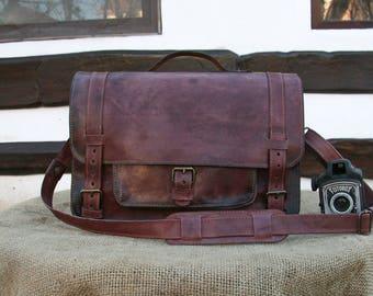 Red Mahogany Leather Laptop Bag / Vintage Look Laptop Bag / Messenger bag / 15 inch Laptop bag / Mahogany Briefcase / Vintage Office Bag
