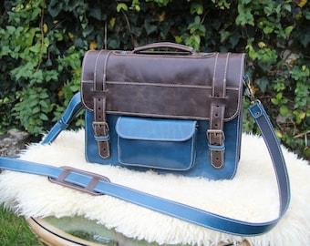 Blue Leather Laptop Bag / Vintage Look Laptop Bag / Crazy Horse Messenger / 12 inch Laptop bag / Messenger Briefcase / Vintage Office Bag