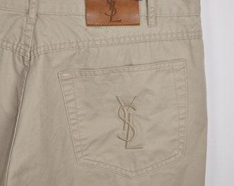 d593ea7d838 YSL Beige Pants W36 L34/ Yves Saint Laurent Vintage Cotton trousers/ Chino  Pants