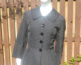 Original 1950s Black Brocade fitted coat
