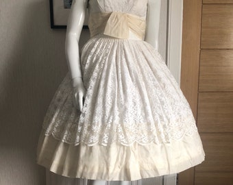 Late 1950's lace and silk wedding dress
