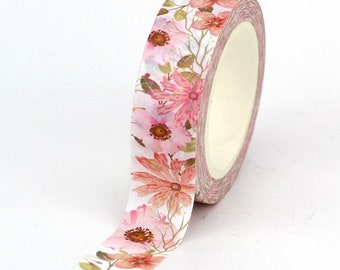 Pink Floral Leaves Spring Blooms Washi Tape