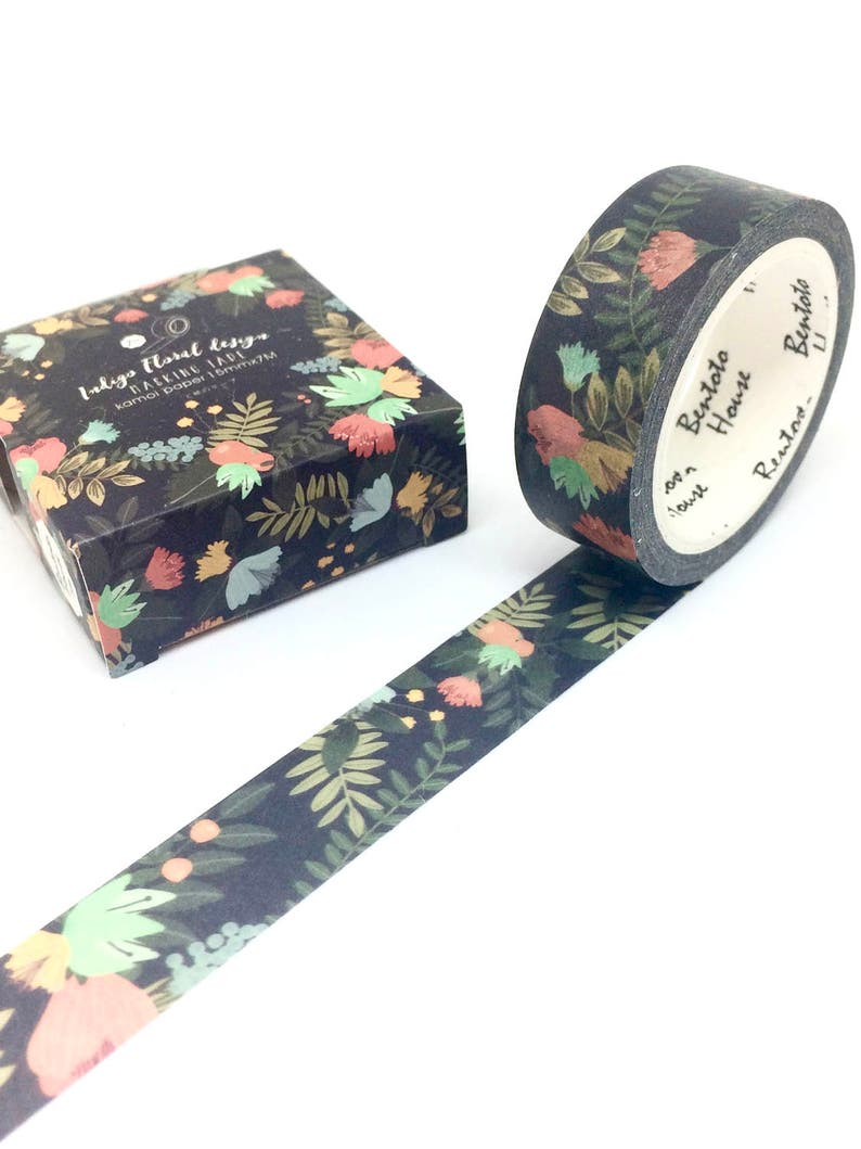 Black Floral Washi Tape Palm Summer Flowers image 0