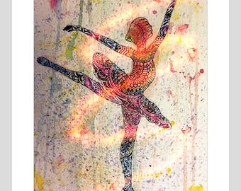 Ballerina greeting card A5 size