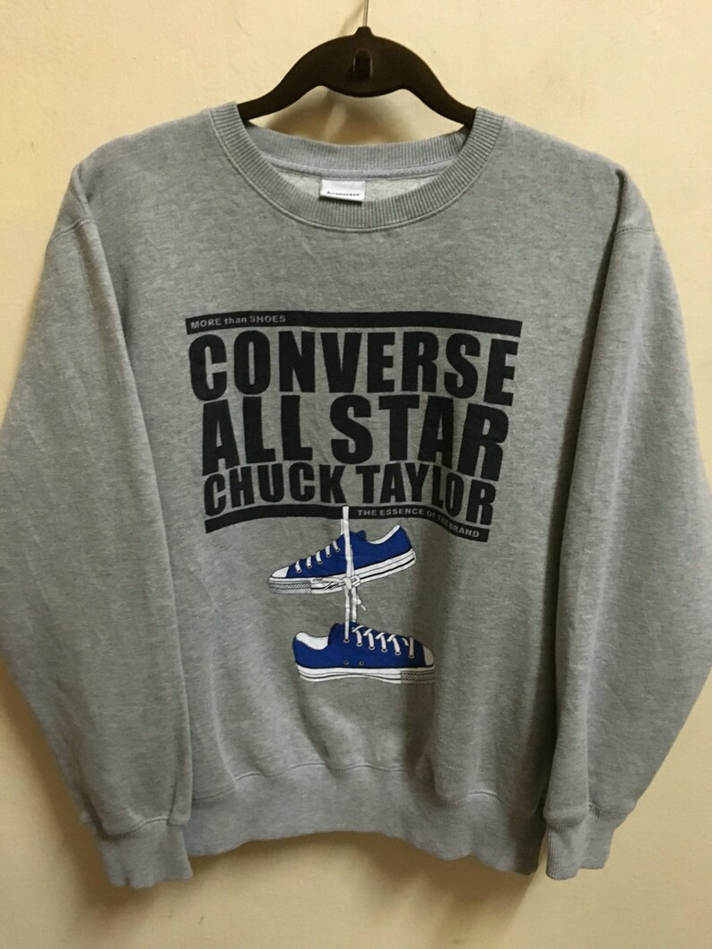 8556fa0a9c1d Vintage 90 s Converse All Star Chuck Taylor 1908 Black Classic Design Skate  Sweat Shirt Sweater Varsity Jacket Size L  A361