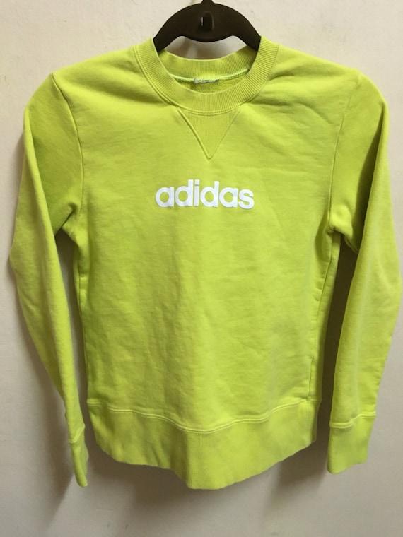 Vintage 90's Adidas Neon 3 Stripes Sport Classic Design Skate Sweat Shirt Sweater Varsity Jacket Size S #A382