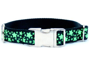 """black and green GLOW-in-the-DARK stars DOG Collar~ 1"""" wide with metal buckle"""