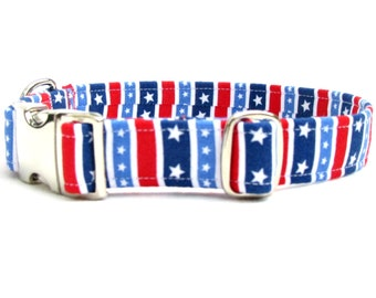 "stars and stripes DOG Collar~ 3/4"", 1"", 1.5""  or 2"" wide with metal buckle"