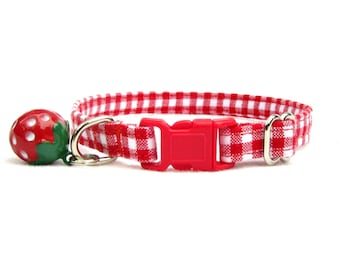 red gingham CAT Collar with your choice of bell or charm