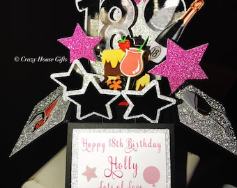 Birthday Pop Up Box Card 18th 21st Handmade Cards Sparkly Special
