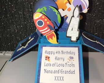 Boy's birthday card, space theme card, pop up box card, birthday card, card for boys, space, rockets,