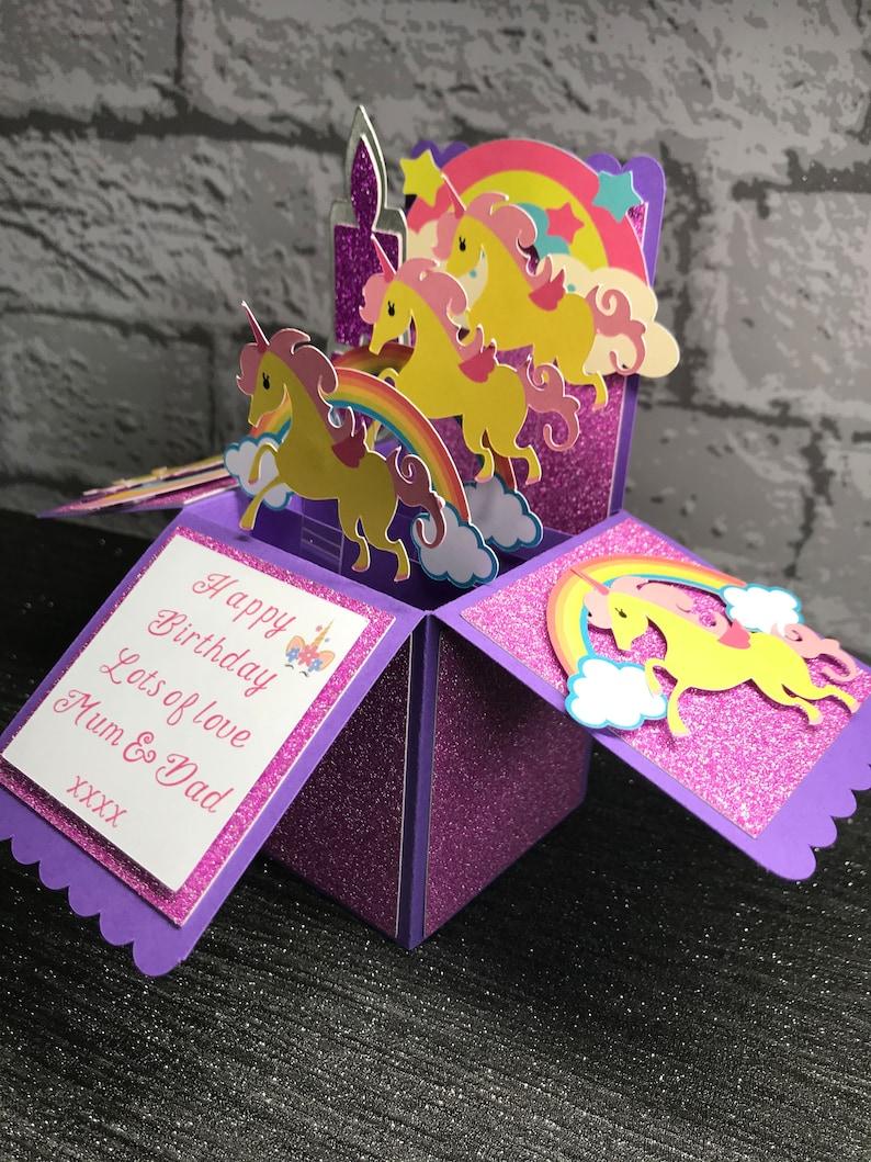 unicorn card birthday card pop up box card unicorns  etsy