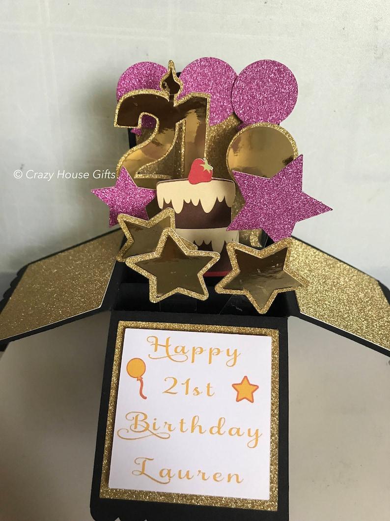 Birthday Pop Up Box Card 21st Handmade Cards