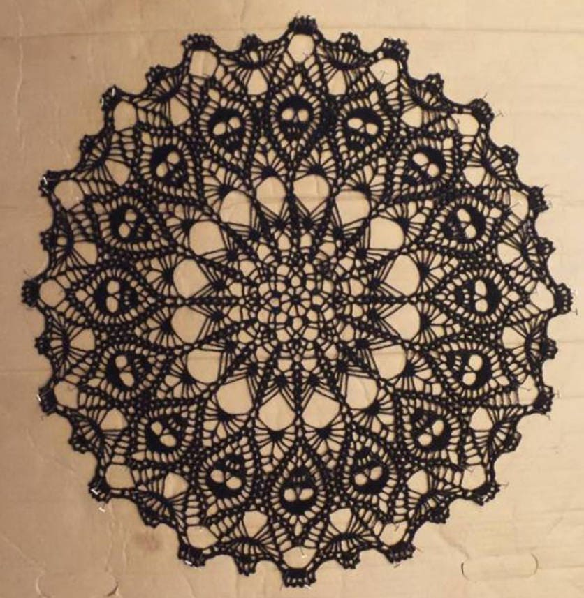 Crown Of Skulls Doily Black Crochet Doily Crochet Lace Etsy