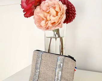 Linen pouch, sequin pouch, sequin linen wallet, silver kit, gift idea