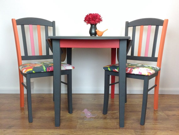 Dining Table Set, Table with 2 Chairs, Kitchen Table Set, Drop-leaf Table  with Two Chairs,