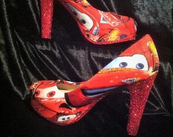 eee4f1573 disney cars   lightning mcqueen heels   shoes       sizes uk 3-8