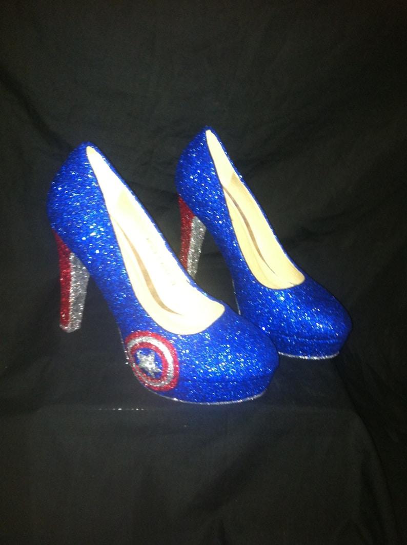* * heels * *handmade Uk Sizes 3-8 *Captain Marvel shoes