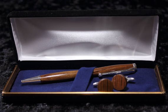 Wood Pen and matching Cufflink Set - Hand Turned