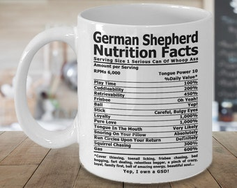 German Shepherd Nutrition Coffee mug , Coffee cup, German Shepherd Gifts, Nutrition Type Font | GSD Coffee Mug