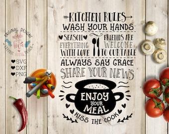 Kitchen svg, Kitchen Rules svg, Kitchen Cut File in SVG, DXF, PNG, Kitchen Rules Printable, Kitchen dxf, Kitchen Funny svg, Cooking svg,