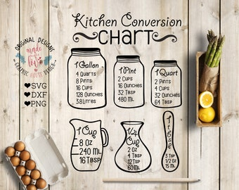 Kitchen svg, Kitchen Measurement Chart, Kitchen conversion chart svg, measuring cup svg, kitchen cut files, measuring jars svg, kitchen dxf
