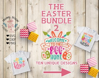 Easter Cut Files Bundle contains ten different easter designs in SVG, DXF, PNG, Easter svg, Easter Eggs, Easter Egg Hunt, Easter t-shirt svg