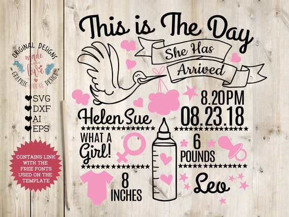Birth Announcement Template Svg Girl Birth Announcement Svg Etsy