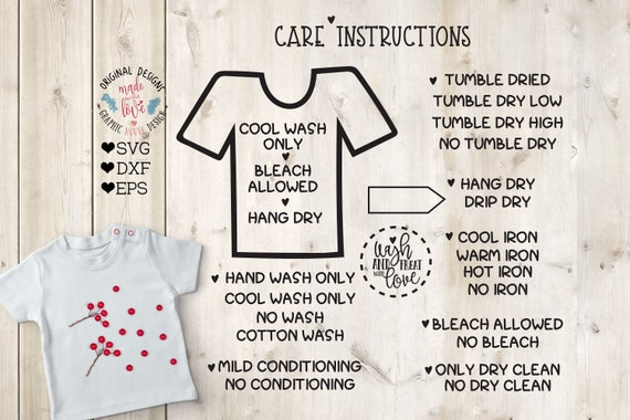 T Shirt Care Instructions Card Instructions In Svg Dxf Eps Etsy
