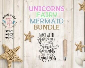 unicorn svg file, mermaid svg file, fairy svg file, unicorn mermaid fairy svg bundle, svg bundle, cut files in SVG, DXF, PNG, dxf bundle