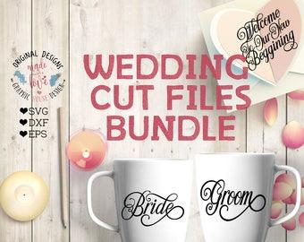Wedding svg File, Wedding Cut File in SVG, dxf, eps, Groom Bride SVG, Just Married SVG, Marriage svg file, Mr and Mrs svg, Bridesmaid svg