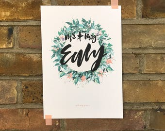 Personalised Wedding Initials print with date