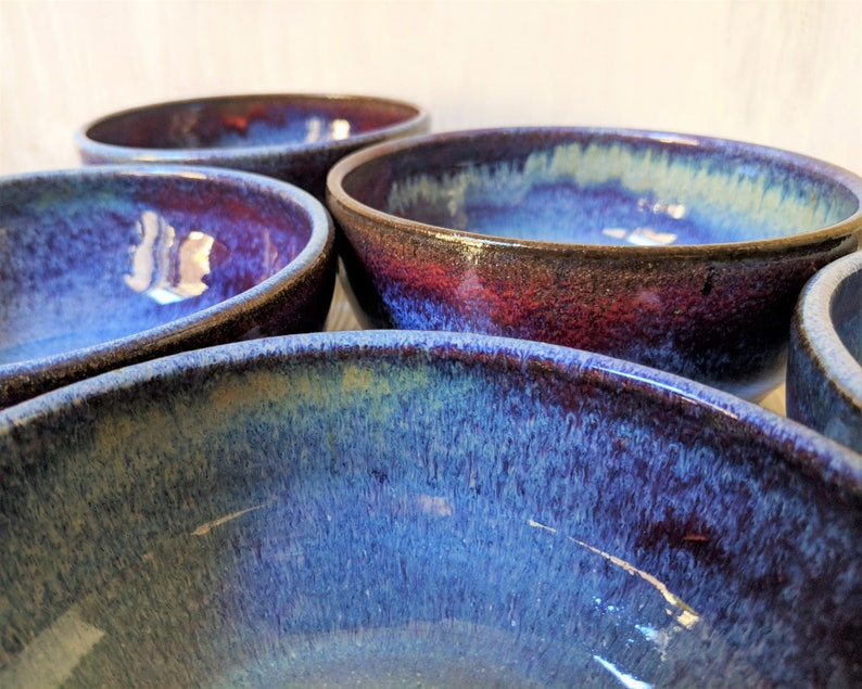Ceramic Bowl Stoneware Soup Bowl Each Sold Separately Handmade Cereal Bowl Blue Gloss Pottery Bowl