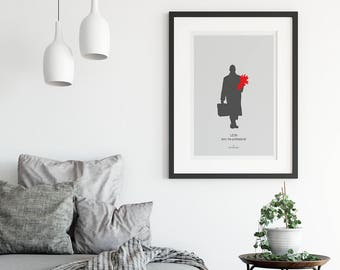 Léon: The Professional Movie Print Poster Luc Besson, crime thriller film, grey red wall art decor, Jean Reno Natalie Portman, Cult Original