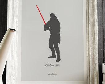 QUI-GON JINN poster, Star Wars Episode I The Phantom Menace, Liam Neeson as Jedi master mentor, gray poster teacher gift lightsaber