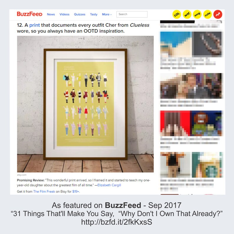 Clueless Movie Poster, Minimalist print, Cher Horowitz fashion looks, funny  home decor, Minimal Style Poster, Chick Flick gay friend gift