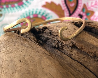 Brass swirl cuff bracelet