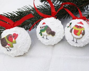 4 Christmas ornaments 4cm ,White,Owl picture,lightweight, Christmas tree decoration, Christmas stocking