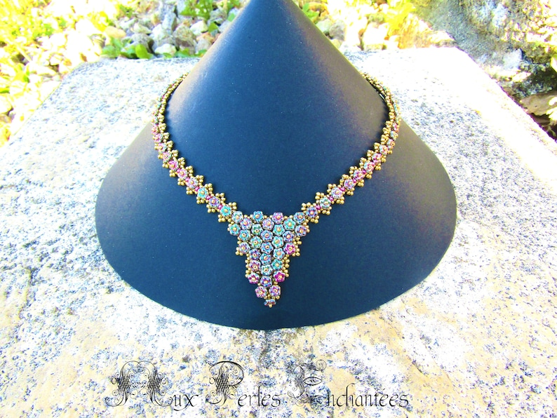 beading pattern beading tutorial,Beaded Forget me not necklace kit instructions and materials, Beading kit