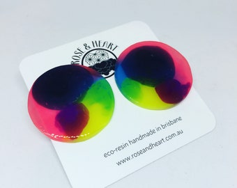 Bold and bright neon large circle eco resin studs