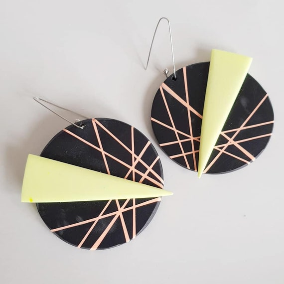 80s Memphis design inspired geometric eco-resin inlay large statement neon  earrings