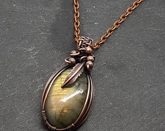 Labradorite gemstone pendant necklace,  wire wrapped with oxidised copper. 3 different chain to choose from