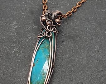 Natural Turquoise gemstone pendant necklace,  wire wrapped with oxidised copper. 3 different chain to choose from