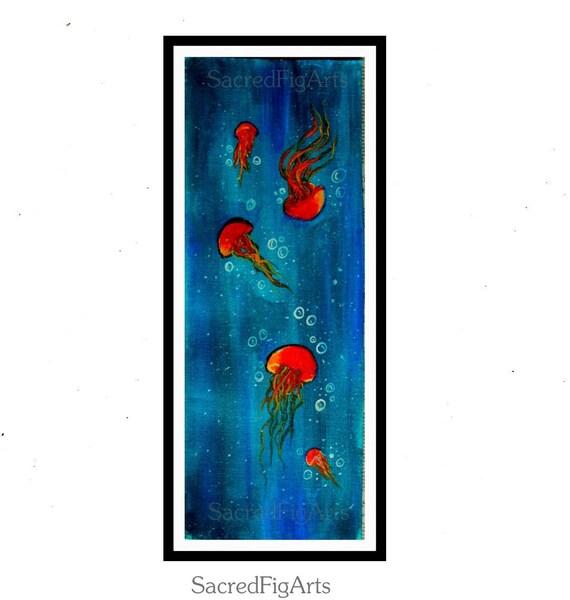Quallen Malerei Moderne Acryl Kunst Kunst Für Kinder | Etsy