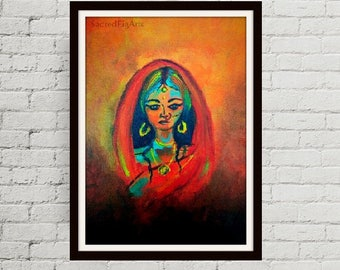 modern painting, original canvas art, indian canvas art, woman painting, feminine art, indian woman, sari painting, powerful woman art