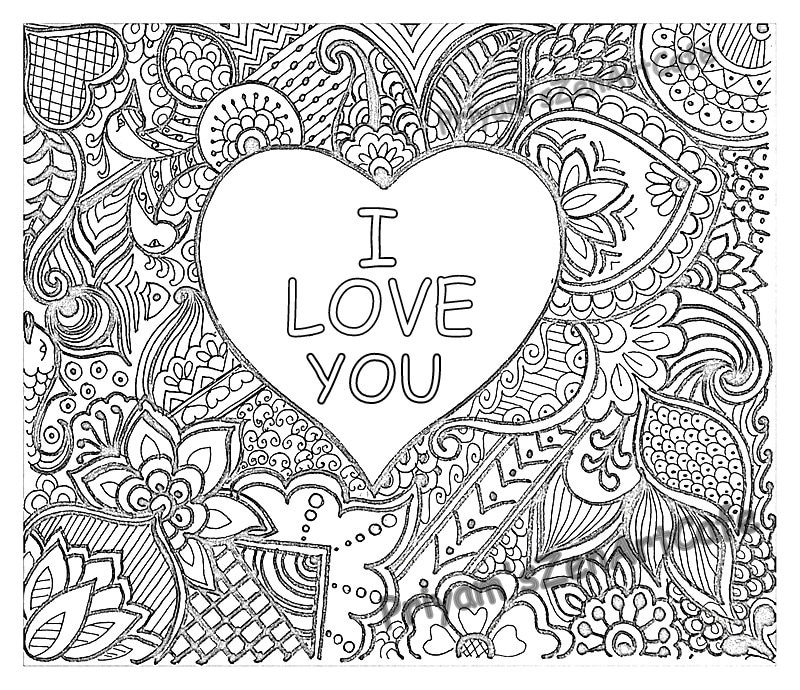 easy coloring page romantic gift I love you art love | Etsy