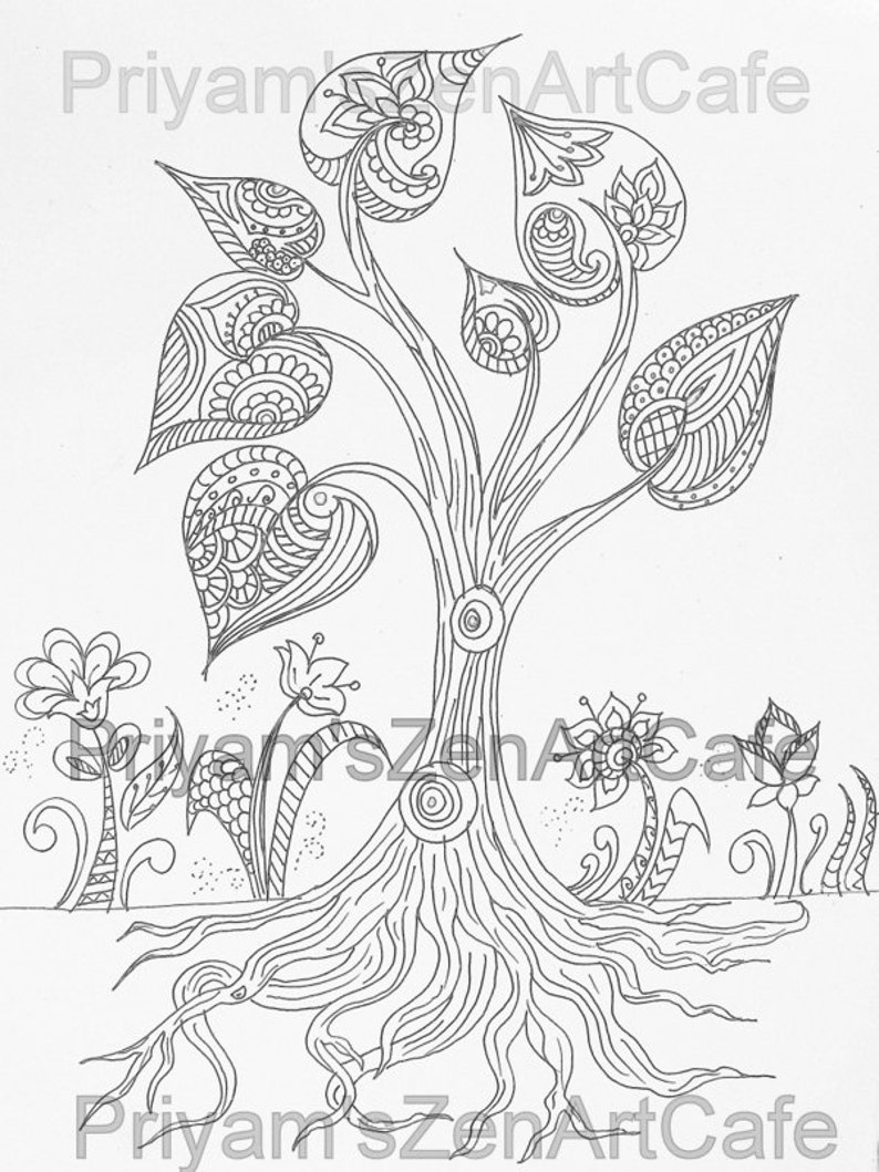 Tree Of Life Instant Download Printable Art Adult Coloring Etsy