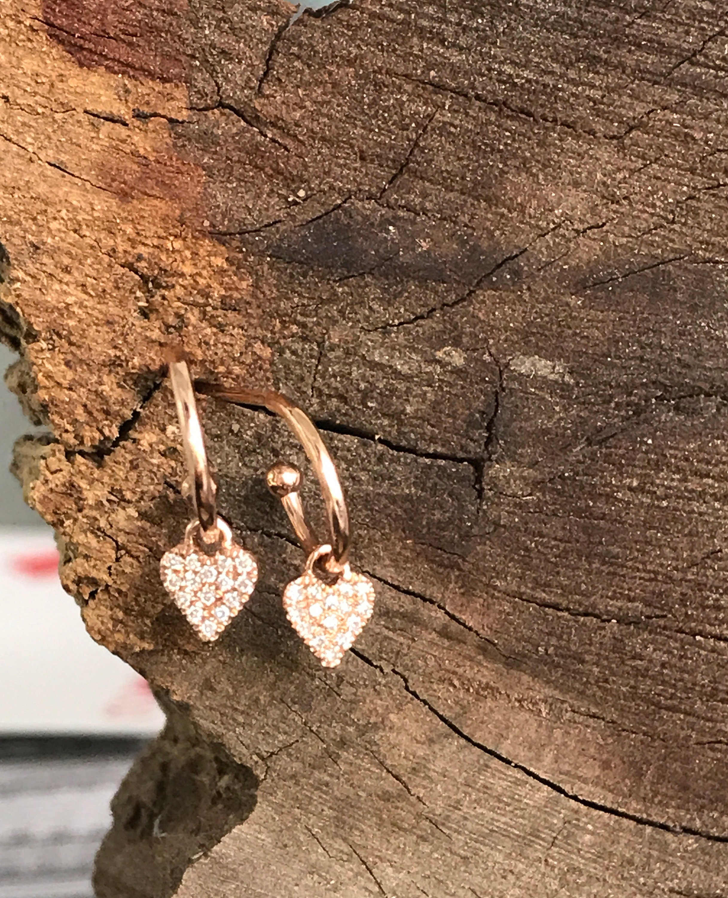 14k Rose Gold Huggie diamond heart hoop earring pink gold