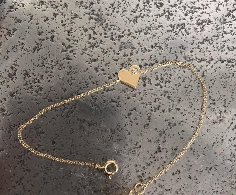 bracelet diamond heart bracelet diamond 14K Solid Gold jewel gold heart bracelet heart jewelry gold heart gold gold bracelet heart